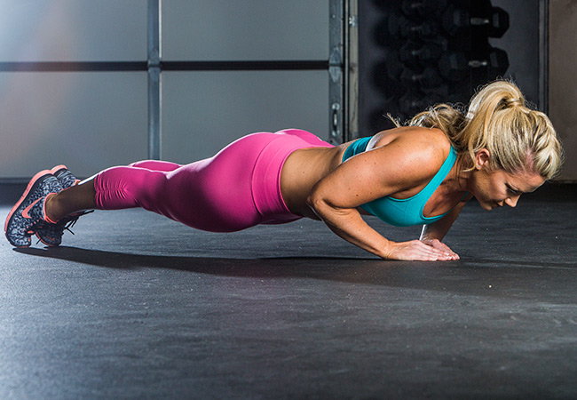 brooke-stacey-arm-workout-triangle-push-up-2 - Women's Health and Fitness magazine.