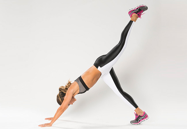 Move 1 - Downward dog and butt kick - Women's Health and Fitness magazine
